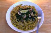 Curry verde tailandés Pesto espaguetis - vegano y libre de Gluten