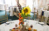 Centros de mesa de boda temática otoño Mason Jar