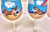 Claramente Susan crea A medida diseño en mano pintado vidrios de vino