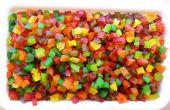 Tutti-Frutti: Cubos de coloridas frutas confitadas de Papaya cruda