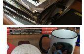 Espejos de vanidad y posavasos de taza de café de viejos discos duros