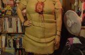 Disfraz de muñeco vudú casero, con arpillera y todo.