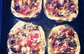 Al horno de calabacines con queso feta, tomate, menta y mejorana