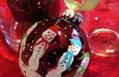 Impresión de mano muñeco de nieve decoración bombilla regalo para la Navidad a los niños