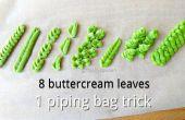 Punta de hoja DIY tuberías y 8 hojas de crema de mantequilla