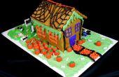 Casa de Halloween de pan de especias calabaza