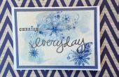 Copo de nieve estampado acuarela tarjeta