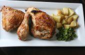 Sencillo pollo asado y papas