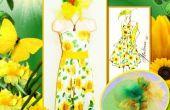 Creación de girasol Bustier vestido tropical