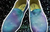Galaxia DIY zapatos pintura con Spray acrílico casera