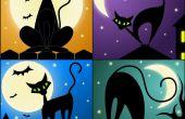 Dibujo un negro gato usando vectores