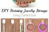 DIY rotación almacenamiento de joyería usando la caja de Cereal