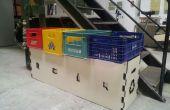 Cómo hacer una papelera de reciclaje de cajas de refresco (y aglomerado)