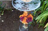 Cristalería aves baño alimentador y soporte de planta