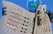 Pegamento conductor y el hilo conductor: Hacer una exhibición de LED y el circuito de tela que se enrolla.