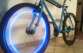 Azul la rueda de la bici del LED