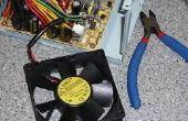 Ventilador de fuente de alimentación de PC en un ventilador pequeño escritorio