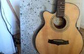 Soporte de guitarra hormigón pulido con luces de fibra óptica