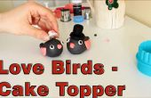 Cómo hacer un azúcar pasta Fondant amor aves Topper de la torta