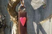 Azulejo de lámpara colgante - marrón con corazón Rosa de cristal