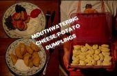 Bolas de masa hervida deliciosas de queso y papas