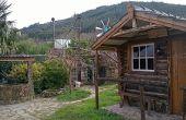 Paso por construcción de paso de una cabaña de madera