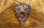 Purpleheart Ouija colgante con incrustaciones de arcilla de polímero