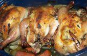 Asar las gallinas Cornish con salvia y ajo