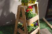Soporte de hierba o planta madera reciclada