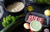 Cocido el calabacín con carne, arroz, tomates secos y perejil relleno