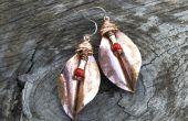 ●HAMMERED hojas de cobre EARRINGS●