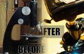 Revivir un antiguo microscopio: la limpieza apropiada, nueva fuente de luz (con madera) y adaptador de cámara