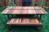 Reciclado madera plana-Pack Picnic mesa con plantador/hielo canal