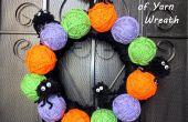 Poms de araña y festivos bolas de hilo corona