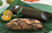 Pollo al vapor con limón albahaca envuelto en hoja de Palma de plátano