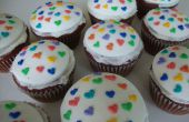 Cupcakes de terciopelo rojo corazón