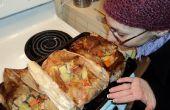 Pollo en una bolsa de cocinar en Papillote -