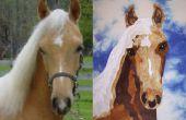 Retrato de la tela de un bloque del edredón de caballo