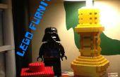 LEGO lámpara, cajón, montaña y mesa de trabajo.