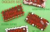 DIY grabado Holiday Chocolate Bar cubiertos, regalo etiquetas & Stocking embutidoras