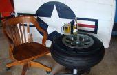 Mesa hecha de una rueda de avión de la década de 1940