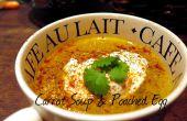 Al curry de zanahoria & Corainder sopa con un huevo escalfado