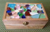Caja de joyería de mosaico de vidrio de mar