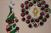 Navidad decoraciones usando las tazas de café