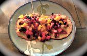 No harina canela arándanos avena tortitas con relleno de pasas y frutas