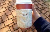 Búho café acogedor de punto