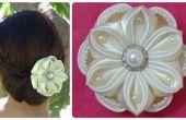 Flor de Satén DIY, accesorio del pelo de la boda