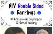 DIY doble cara aretes con poste de cristal de Swarovski y aventada respaldo