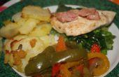 Oro pollo, estofado de verduras y Gratén de patatas