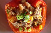 Quinoa y pimientos asado relleno de salchicha